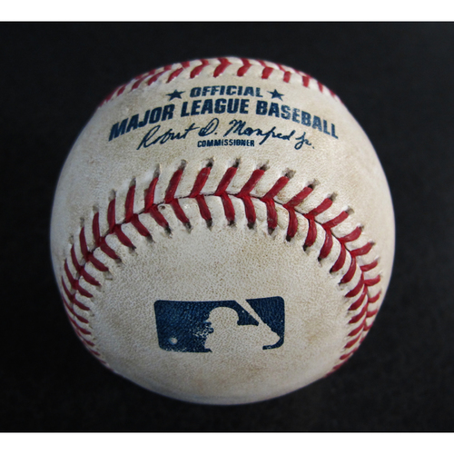 Photo of Game-Used Baseball From the Albert Pujols 3000 Hit Game - Pitcher: Casey Lawrence, Batter: Mike Trout - Triple - 5/4/18