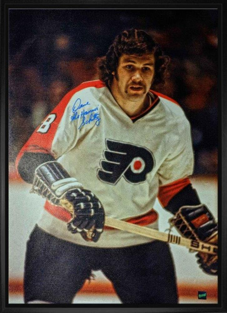 Dave Schultz Signed 20x29 Canvas Framed Flyers White Action