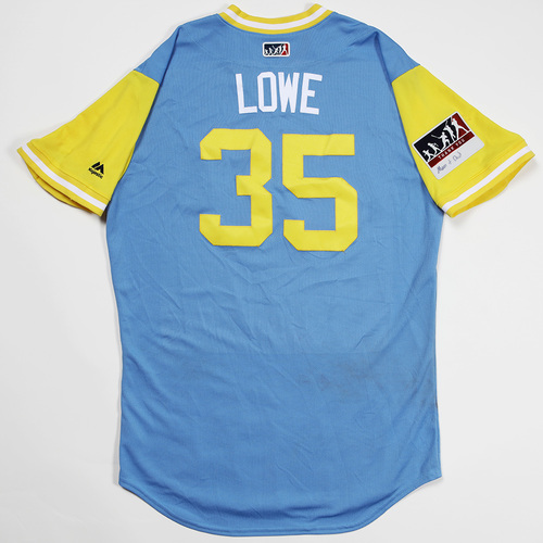 "Photo of Brandon ""Lowe"" Lowe Tampa Bay Rays Game-Used 2018 Players' Weekend Jersey"