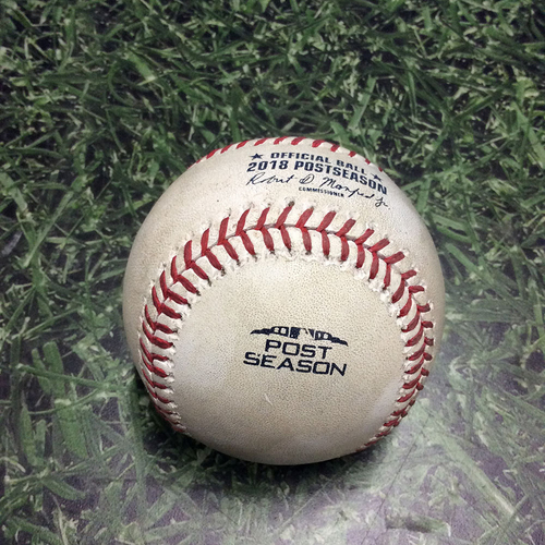 Photo of Game-Used Baseball NLCS Game 2 LAD@MIL 10/13/18 - Jeremy Jeffress - Yasiel Puig: Strikeout