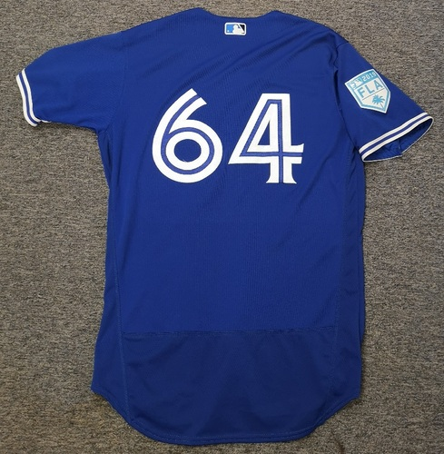 Photo of Authenticated Game Used 2019 Spring Training Jersey - #64 Yennsy Diaz (Mar 18). Size 44