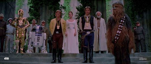 Han Solo, Luke Skywalker, Princess Leia Organa, Chewbacca, C-3PO and R2-D2