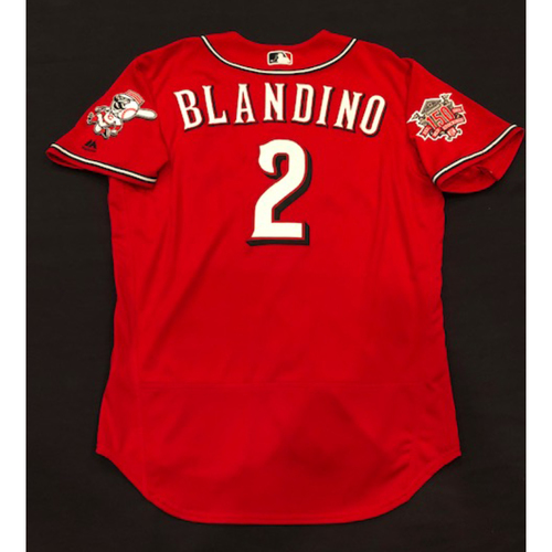"Photo of Alex Blandino -- Game-Used ""Los Rojos"" Jersey (Starting 2B: Went 1-for-1, 3 BB, 3 R) -- D-backs vs. Reds on 9/6/19 -- Jersey Size 44"