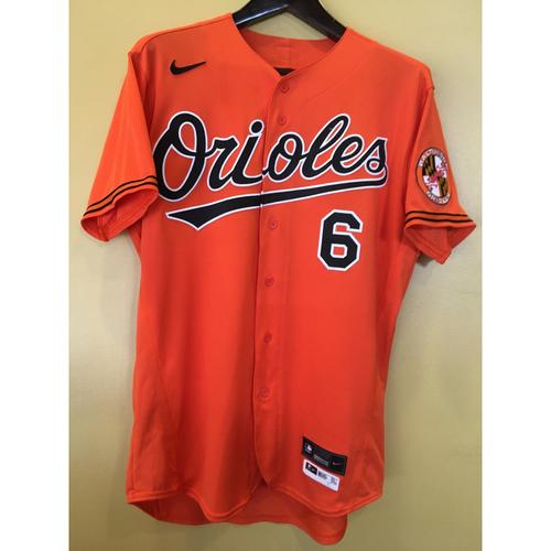 Photo of  Ryan Mountcastle - Orange Spring Training Alternate Jersey: Game-Used (HR) - 2/27/20