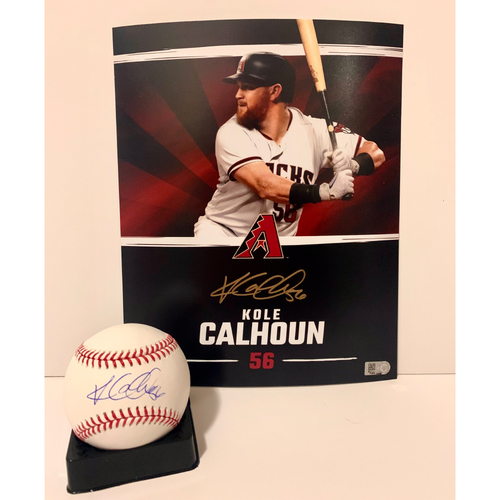 Photo of Kole Calhoun Autographed 8x10 and Ball