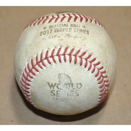 Photo of Game-Used Baseball - 2017 World Series Game 7 - Houston Astros vs. Los Angeles Dodgers - Batter: Clayton Kershaw, Pitcher: Brad Peacock, Foul, Bot 4