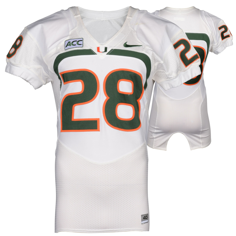 Miami Hurricanes Game-Used 2007 - 2013 Nike White Football Jersey #28