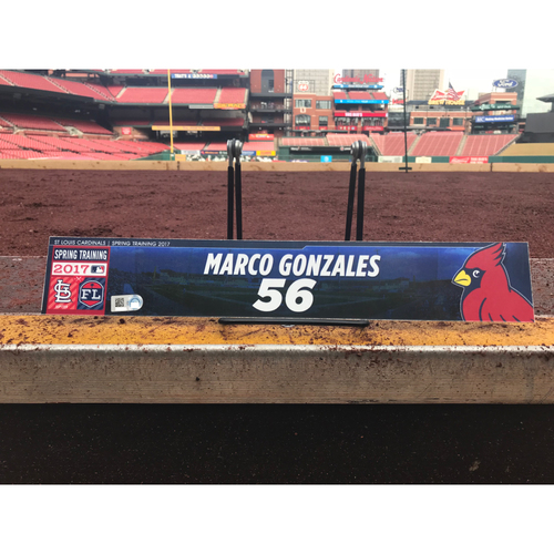 Photo of Cardinals Authentics: Marco Gonzales Team-Issued Spring Training Locker Tag