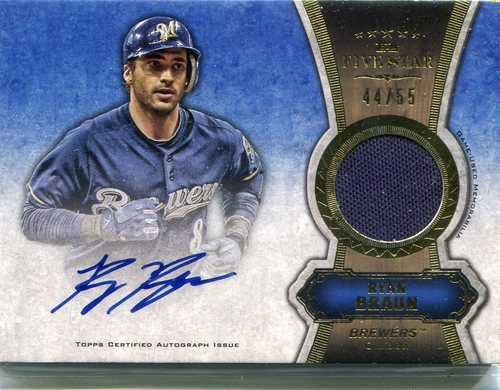 Photo of 2012 Topps Five Star Relic Autographs Gold #RB Ryan Braun 44/55