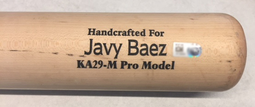 Photo of Javier Baez Game-Used Bat -- Chase Anderson to Javier Baez, Pop Out, Top 5 -- Cubs at Brewers -- 6/12/18