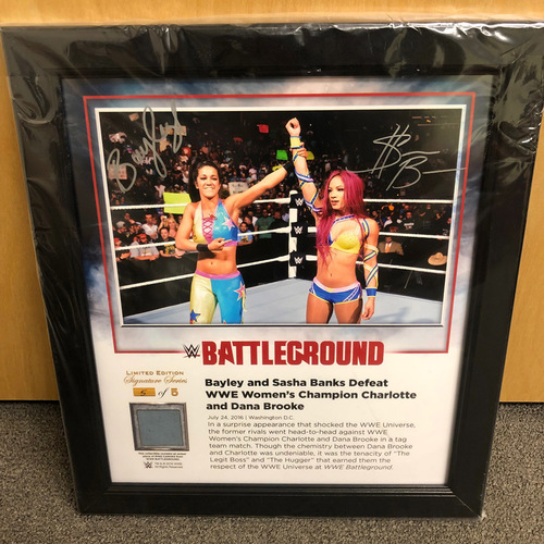 Sasha Banks & Bayley SIGNED Battleground 2016 Signature Series Ring Canvas Plaque (#5 of 5)