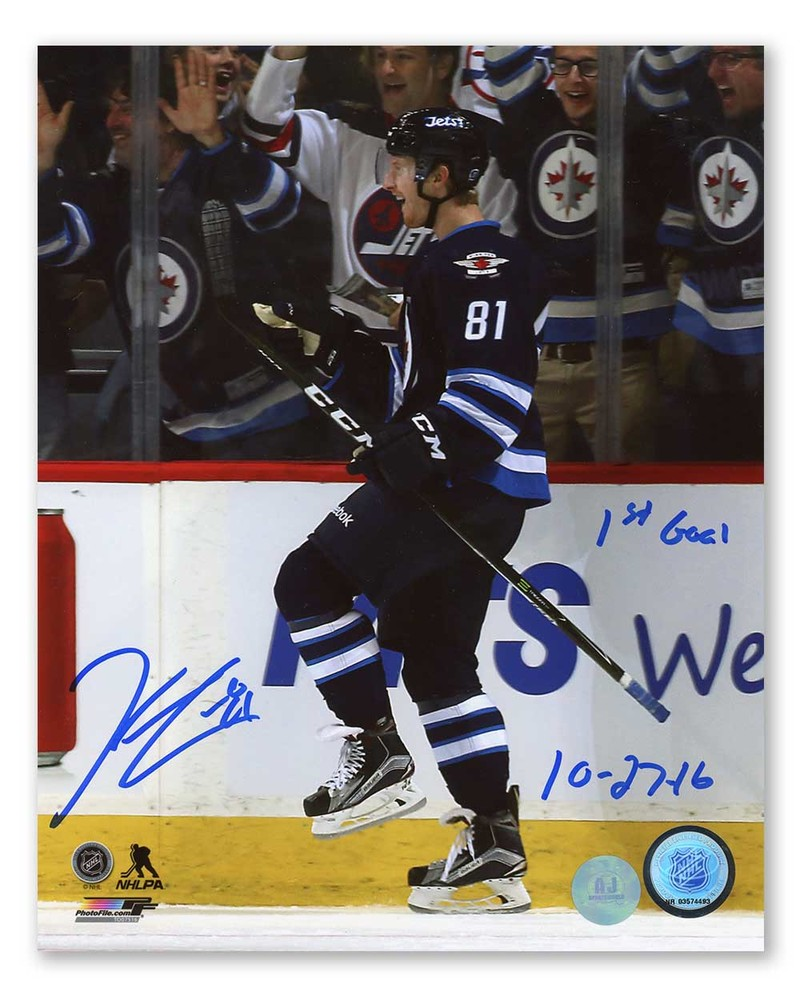 Kyle Connor Winnipeg Jets Signed and Dated 1st NHL Goal 8x10 Photo