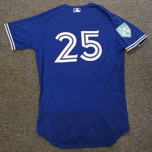 Photo of Authenticated Game Used 2019 Spring Training Jersey - #25 Charlie Montoyo (Mar 17). Size 44