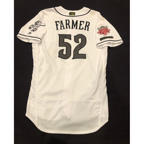 Photo of Kyle Farmer -- Game-Used Jersey -- Worn for Reds Military Appreciation Days -- Size 44