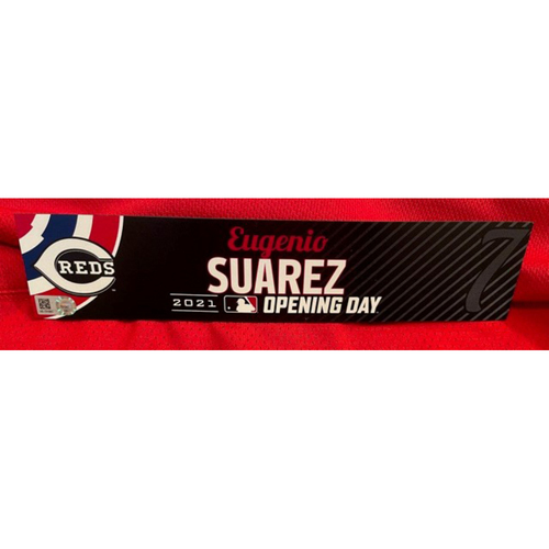 Photo of Eugenio Suarez -- 2021 Opening Day Locker Tag -- Game-Used -- Cardinals vs. Reds on 4/1/21