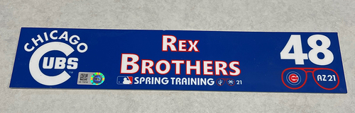 Photo of Rex Brothers 2021 Spring Training Locker Nameplate