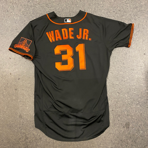 Photo of 2021 Game Used Fiesta Gigantes Black Home Alt Jersey worn by #31 LaMonte Wade Jr. on 9/18 vs. Atlanta Braves - Size 46