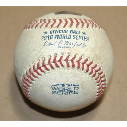 Photo of Game-Used Baseball - 2018 World Series Game 4 - Boston Red Sox vs. Los Angeles Dodgers - Batter: Yasiel Puig, Pitcher: Joe Kelly, Grounds into Fielder's Choice to SS, Bot 8