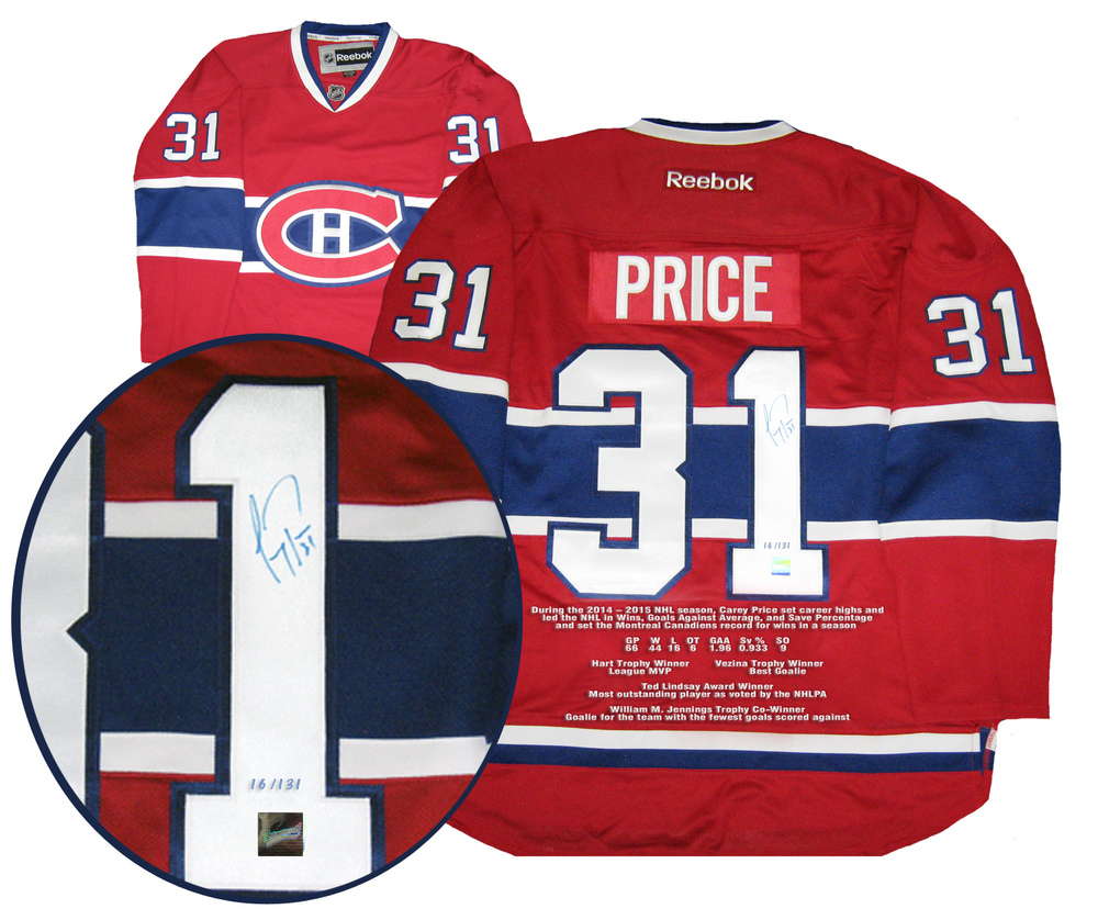 timeless design a28b5 df4e4 Carey Price - Signed & Embroidered Red Montreal Canadiens ...