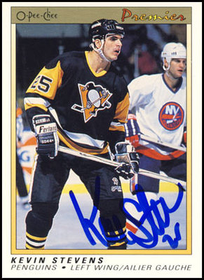 1990-91 O-Pee-Chee Premier Kevin Stevens Pittsburgh Penguins Autographed Rookie Card