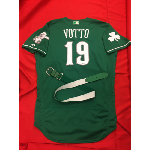 Joey Votto -- Game-Used Jersey -- 2017 St. Patrick's Day Jersey -- Indians vs. Reds on March 17, 2017