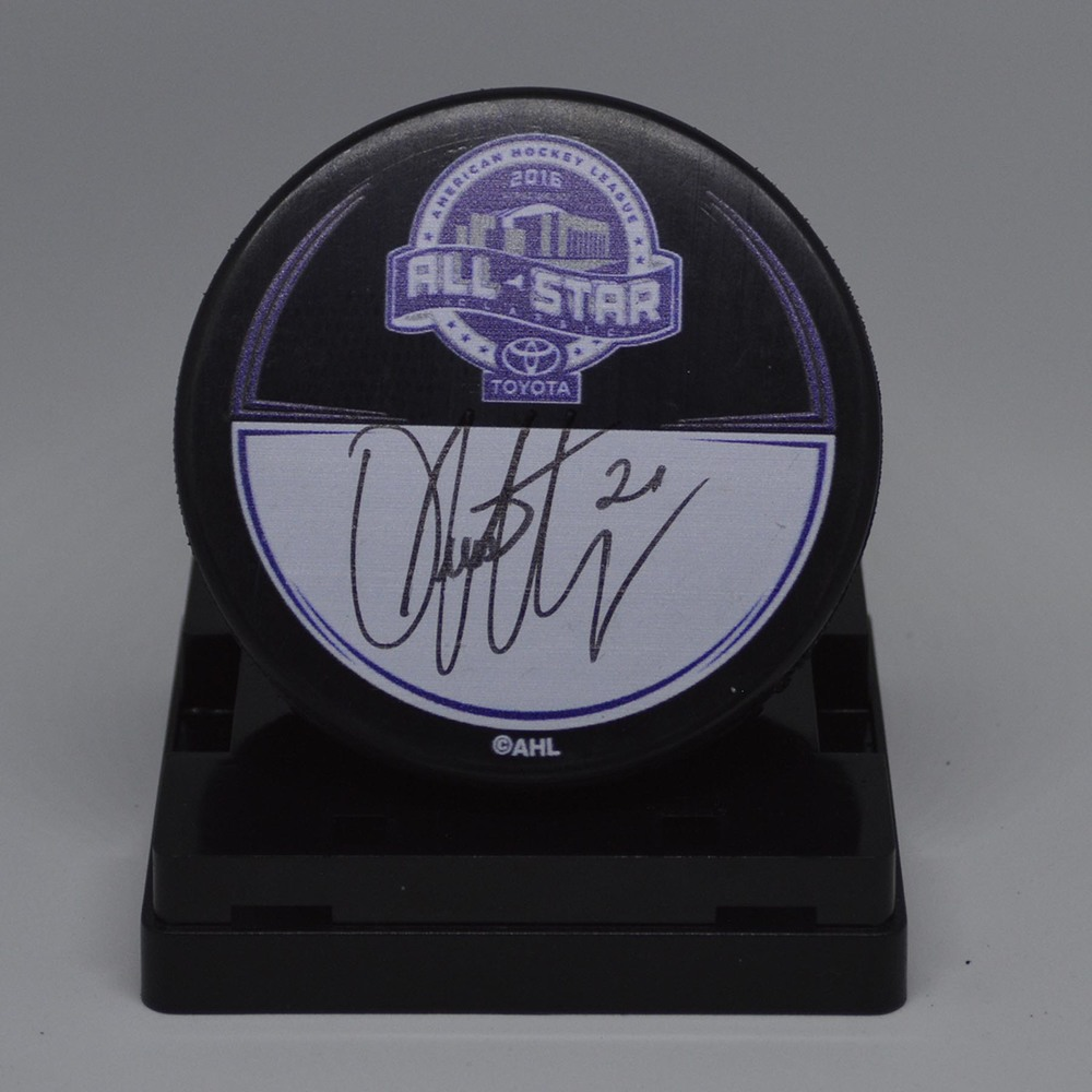 2016 Toyota AHL All-Star Classic Souvenir Puck Signed by #21 Dustin Jeffrey