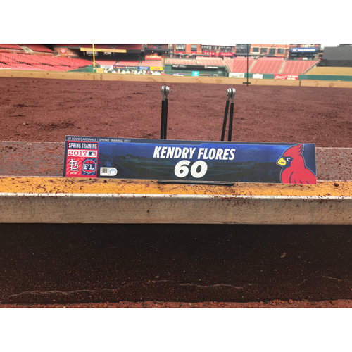 Photo of Cardinals Authentics: Kendry Flores Team-Issued Spring Training Locker Tag