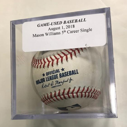 Photo of Game-Used Baseball: Mason Williams 5th Career Single