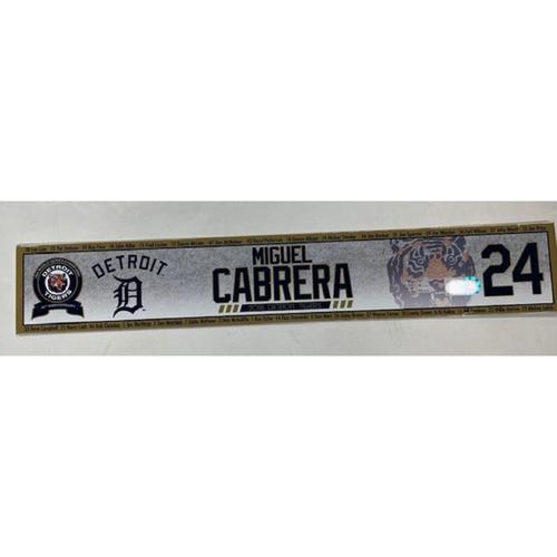 Game-Used Locker Name Plate: Miguel Cabrera