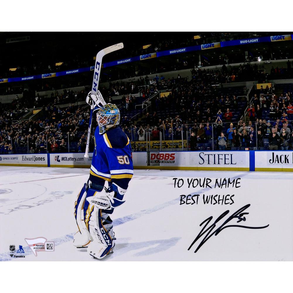 Jordan Binnington St. Louis Blues Autographed Personalized 8x10