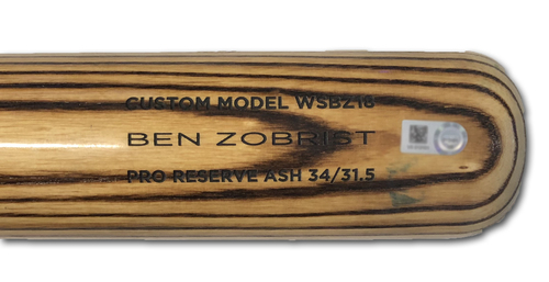 Photo of Ben Zobrist Game-Used Cracked Bat -- Felix Hernandez to Ben Zobrist, Foul Ball, Bot 3 -- 9/3/19 -- Mariners vs. Cubs