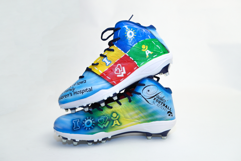 My Cause My Cleats -  Patriots James Ferentz signed custom cleats - supporting  UI Steed Family Children's Hospital Fund