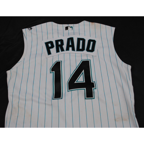 Photo of Game-Used Throwback Florida Marlins Jersey: Martin Prado - Size: 44 (Used July 26-28)