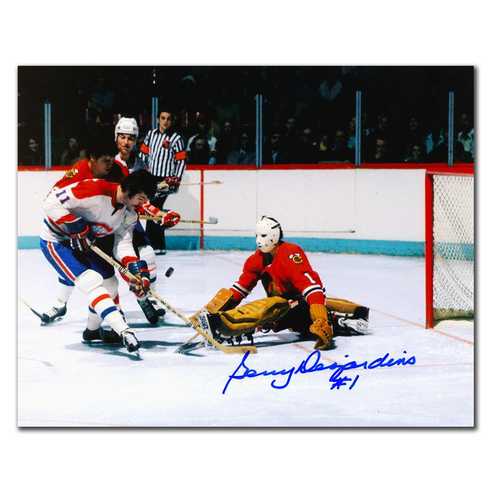 Gerry Desjardins Chicago Blackhawks vs LAMBERT Autographed 8x10