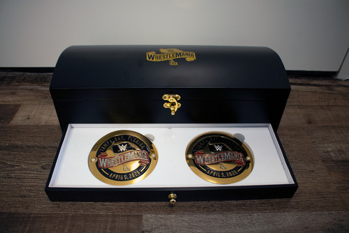 Photo of WrestleMania 36 Swarovski Crystal Mini Title & Side Plate Treasure Box Set