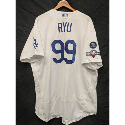 Photo of Hyun-Jin Ryu Team-Issued 2019 Home Postseason Jersey