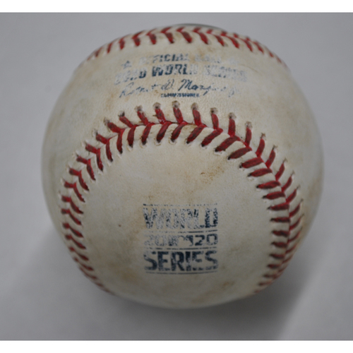 Photo of Game-Used Baseball - 2020 World Series - Tampa Bay Rays vs. Los Angeles Dodgers - Game 1 - Pitcher: Clayton Kershaw, Batters: Mike Zunino (Swinging Strikeout), Yandy Diaz (Ball) - Top 3