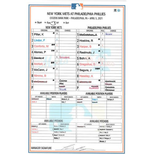 Photo of Game Used Lineup Card - deGrom 6 IP, 0 ER, 7 K's, ND; deGrom 2-3, RBI; Conforto 2-5, RBI - Mets vs. Phillies - 4/5/21
