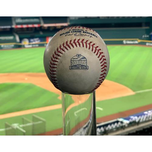 Photo of Game-Used Baseball - OAK @ TEX  - 9/11/20 - P: JESSE CHAVEZ  B: KHRIS DAVIS/ROBBIE GROSSMAN - 1B/1B