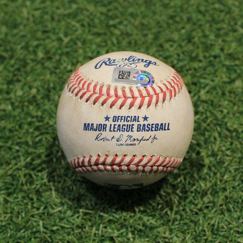 Photo of Game-Used Baseball: Oscar Mercado 173rd Career Hit (CLE@KC 9/29/21)