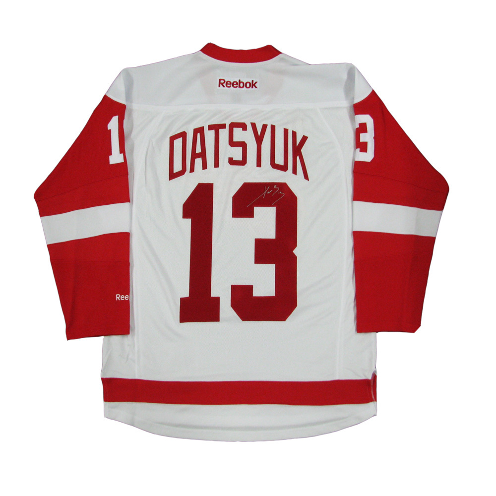 PAVEL DATSYUK Signed Detroit Red Wings White Reebok Jersey