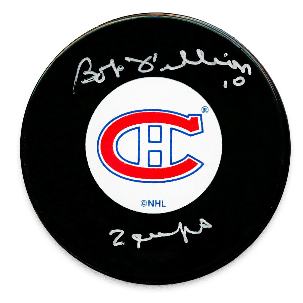 Bob Fillion Montreal Canadiens 2 Cups Autographed Puck