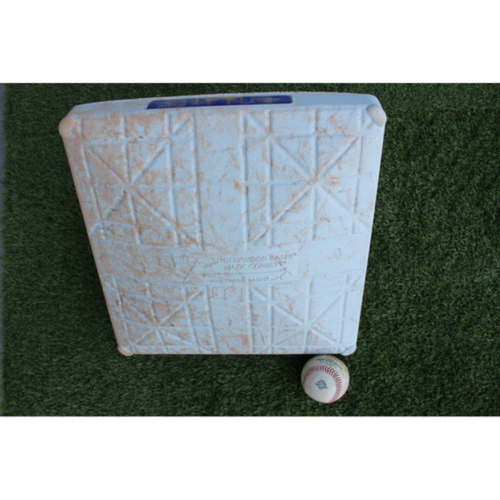 Photo of Game-Used Baseball and Base: Andrew Benintendi 59th Career Double and Steve Pearce 527th Career Hit (2nd Base - Innings 6-9 - BOS at KC - 7/8/18)