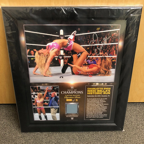 Charlotte Flair SIGNED Night of Champions 2015 Signature Series Ring Canvas Plaque (#1 of 5)