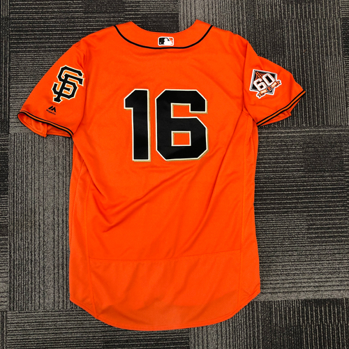 Photo of 2018 Game Used Orange Home Jersey worn by #16 Aramis Garcia on 9/28 vs. Los Angeles Dodgers - 2-3, 1 BB - Size 48