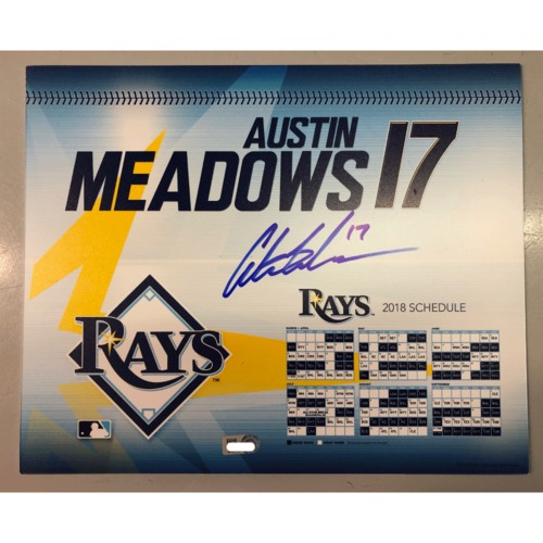 Photo of Game-Used Autographed Locker Tag: Austin Meadows - First MLB Season
