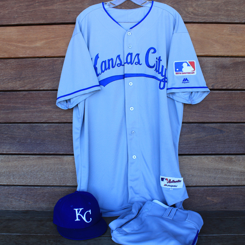 Photo of Game-Used 1969 Throwback Jersey, Pants and Cap: Brad Keller (Jersey Size 50 - KC @ WSH  - 7/6/19)