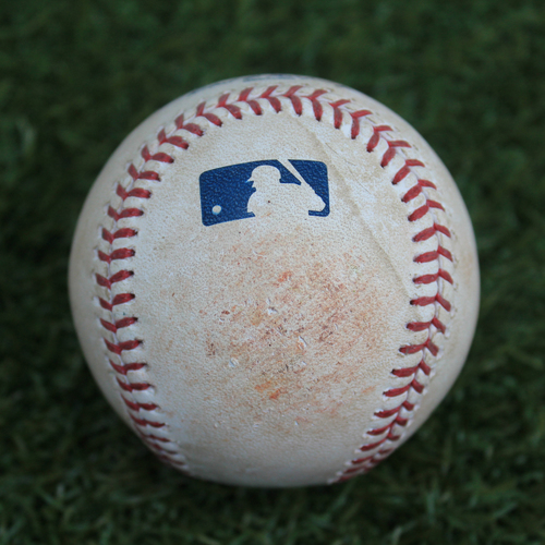 Photo of Game-Used Baseball: Jake Marisnick Single (9/13/19 - HOU @ KC)