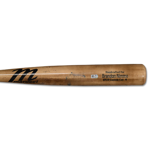 Photo of Brandon Nimmo #9 - Team Issued Full Bat - Brown Marucci Model