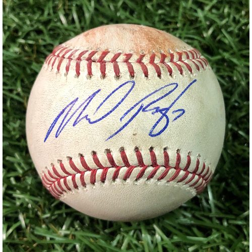 Photo of Autographed Game Used Baseball: Michael Perez MLB Debut - July 26, 2018 at BAL